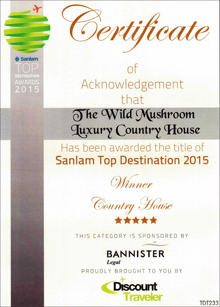 Sanlam Top Destination Accommodation 2015 Certificate